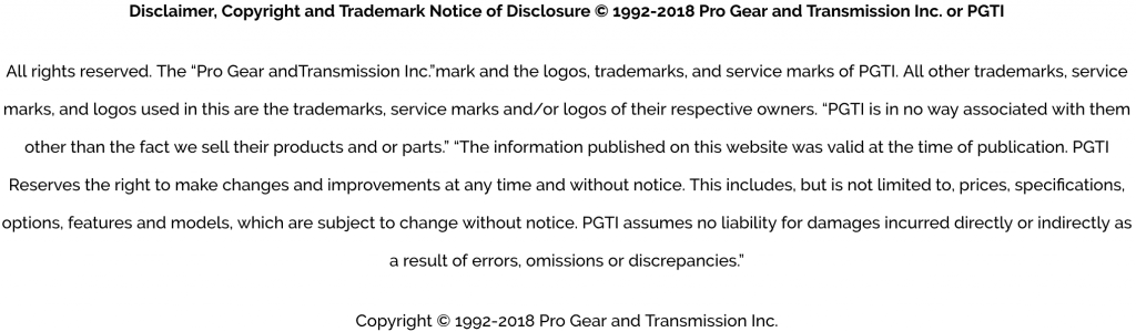 Pro Gear & Transmission Privacy Policy